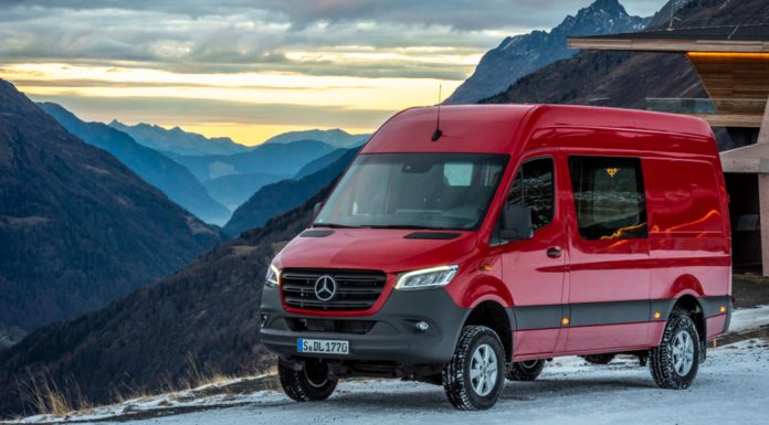 Mercedes Benz Sprinter 4x4 AWD on the side of a mountain.