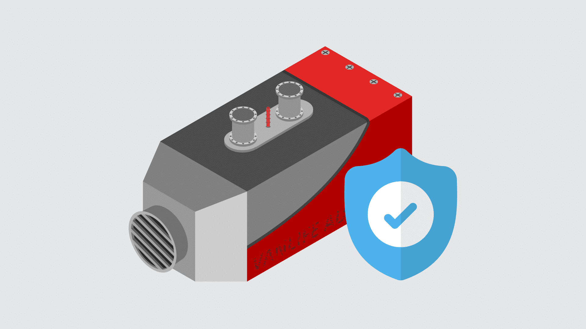 an illustration of a diesel night heater with a safety badge