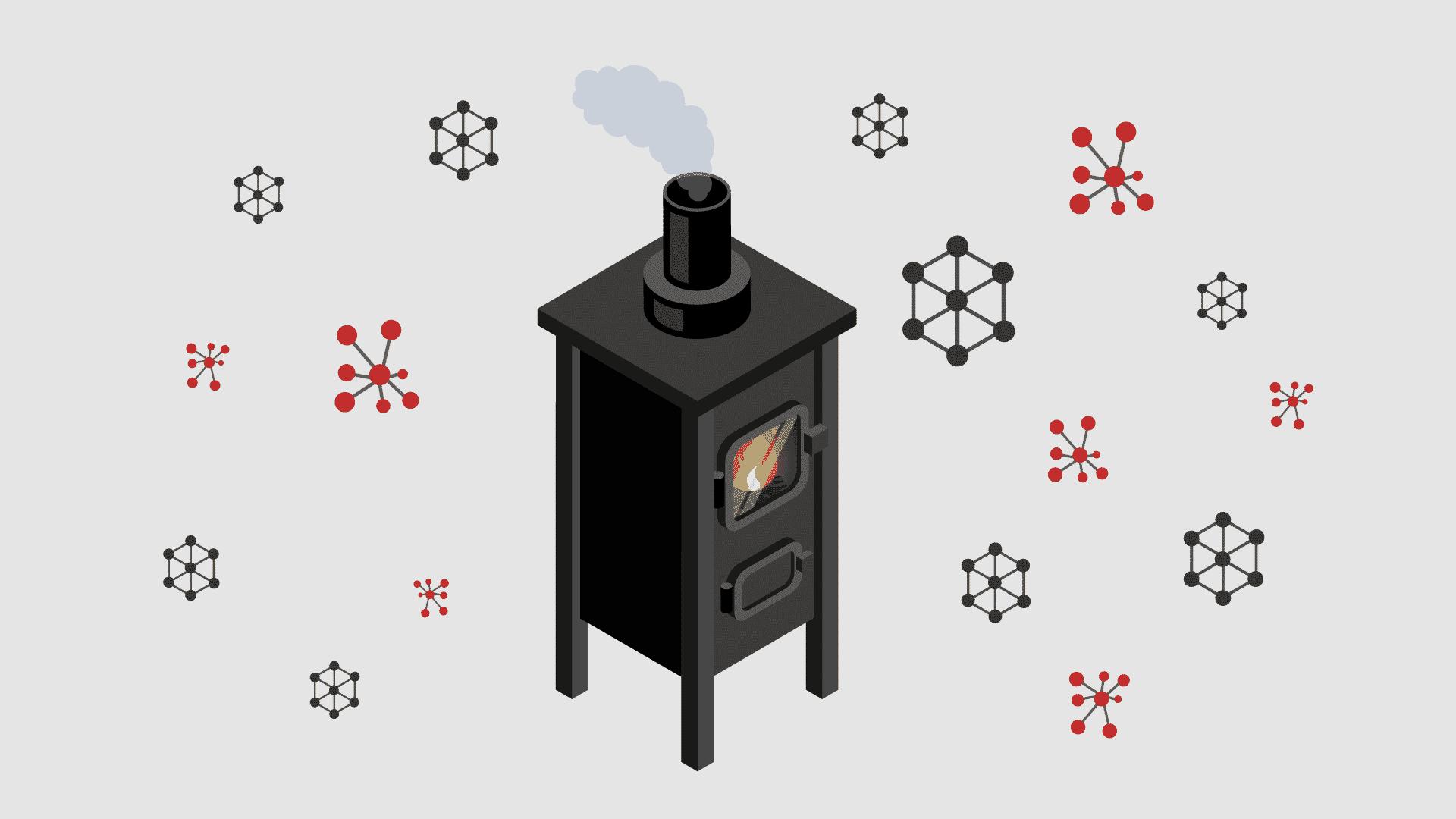 an illustration of a wood-burning stove emitting carbon monoxide
