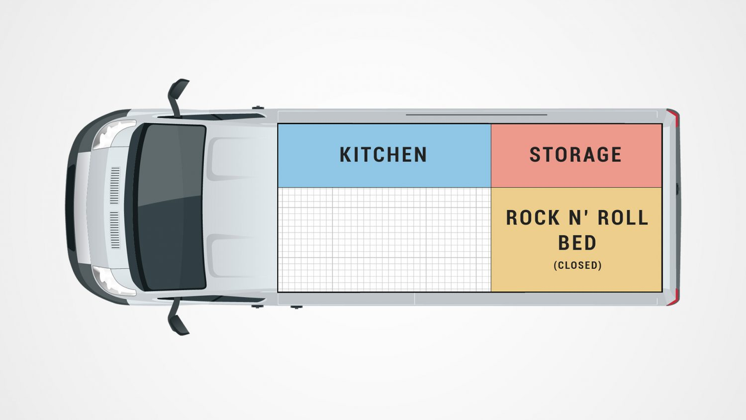 Campervan Conversion Floor Plan Rock and Roll Bed Closed