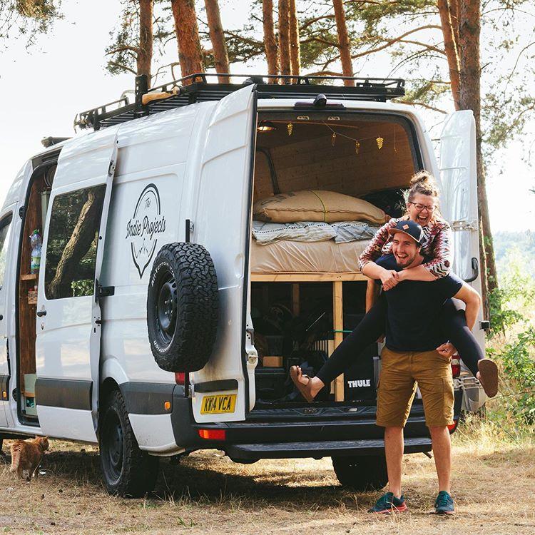 the indie projects van life bloggers stood behind their van