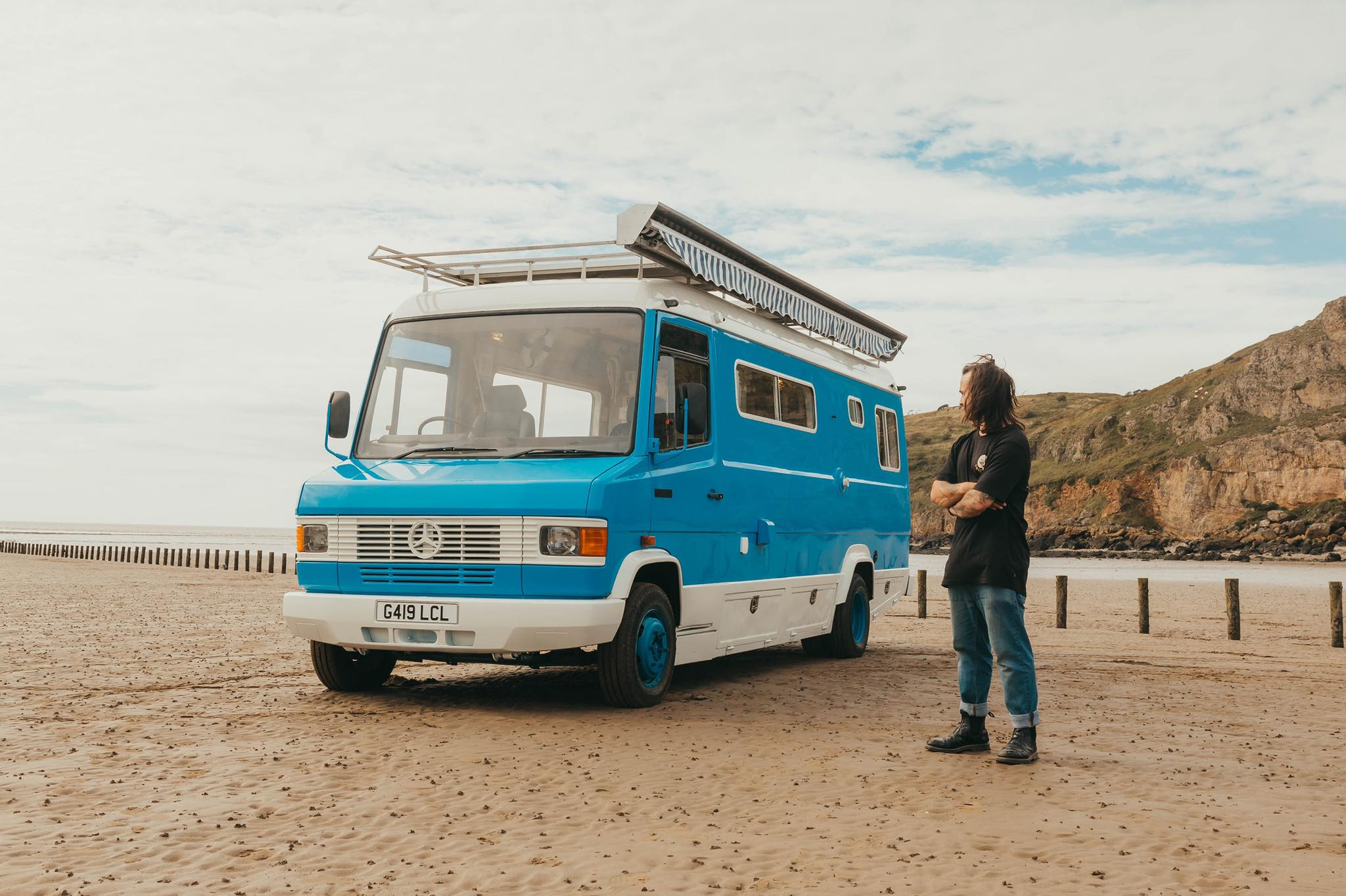 Ernie Supertramped Mercedes T2 Campervan on a beach