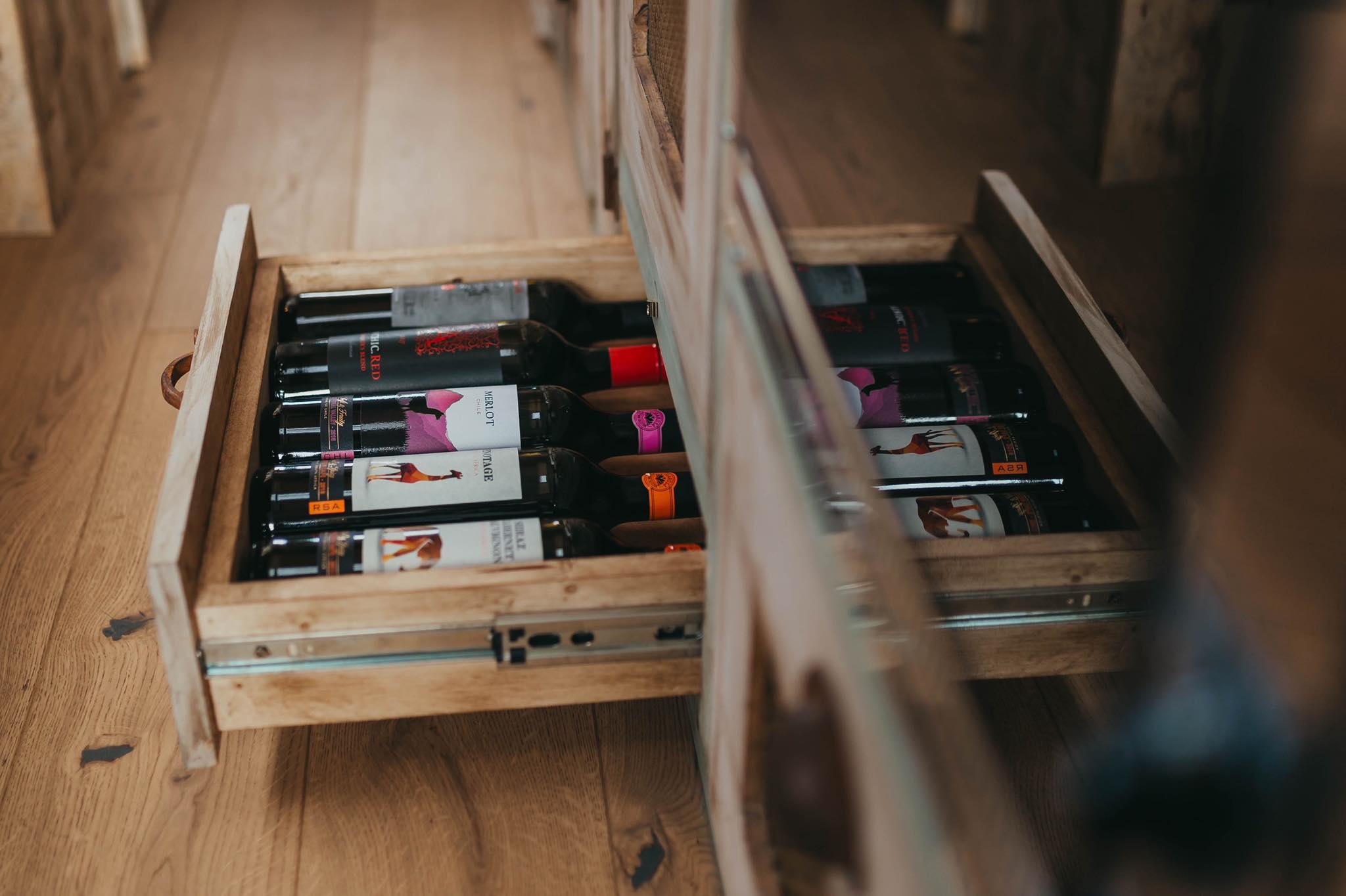 interior view of Ernie by supertramped campervan Interior wine rack