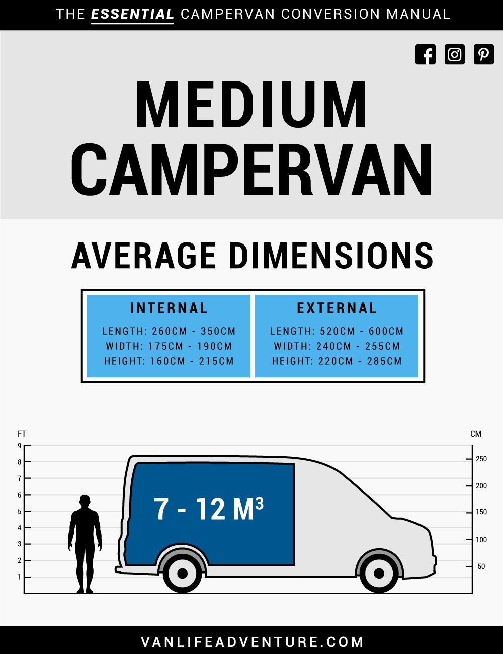 Campervan Sizes Medium Campervan Dimensions Ford Dodge VW Mercedes
