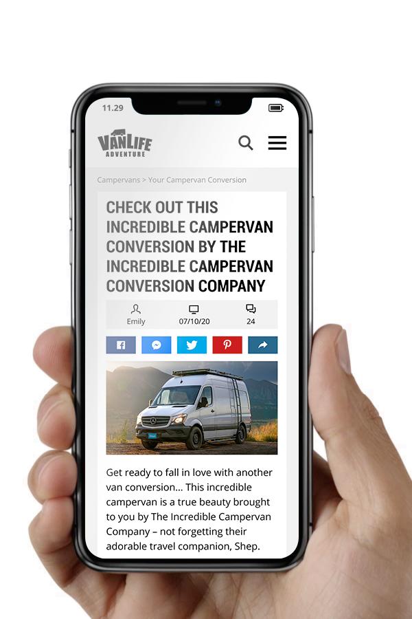 phone screen mockup campervan conversion feature